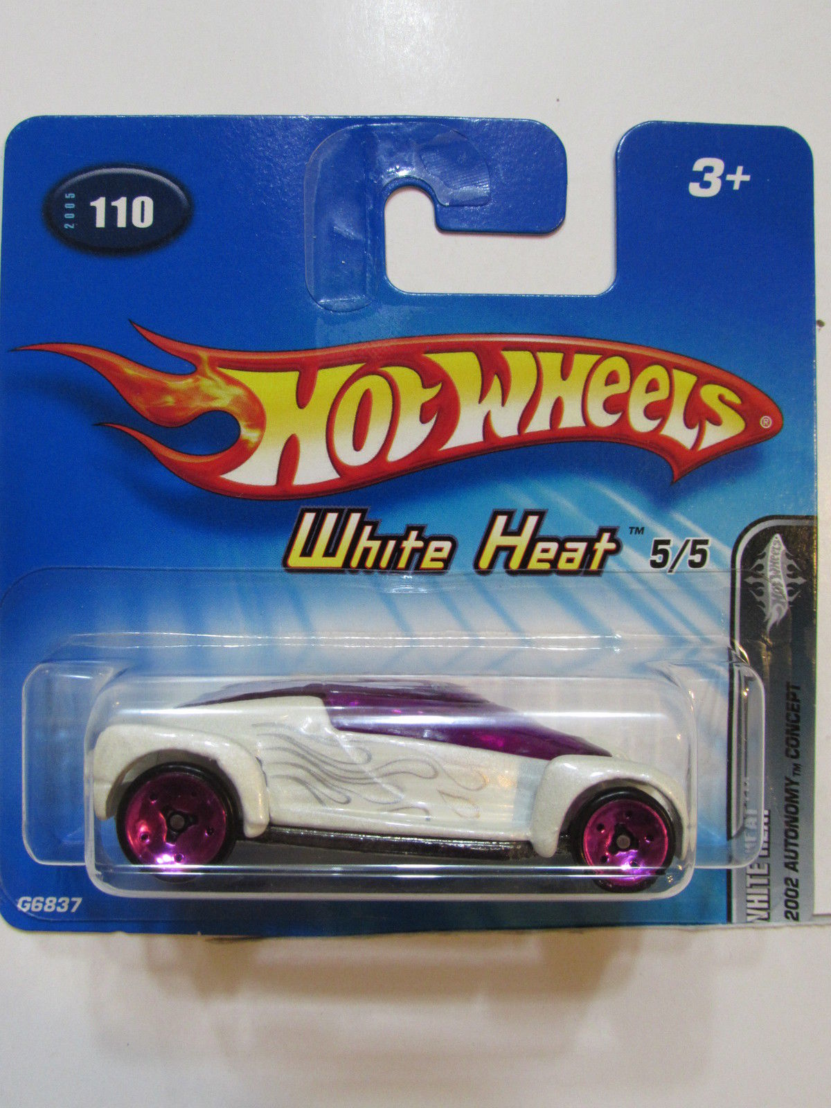 HOT WHEELS 2005 WHITE HEAT 2002 AUTONOMY CONCEPT SHORT CARD