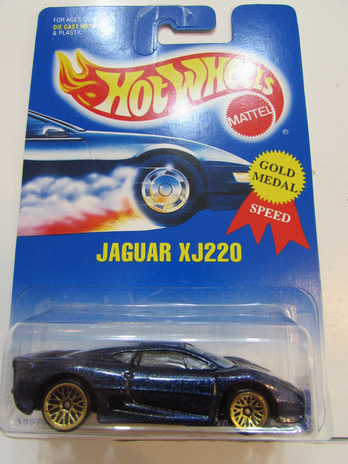 HOT WHEELS 1991 JAGUAR XJ220 #203 BLUE CARD W/ WIRE WHEELS