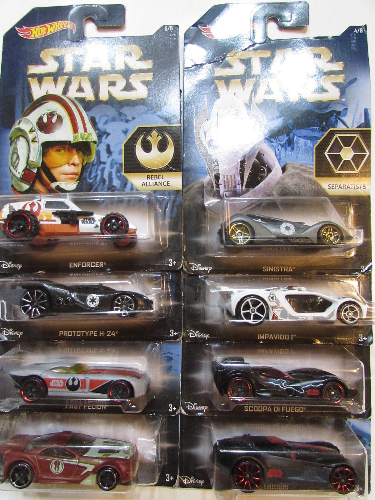 HOT WHEELS STAR WARS 2015 COMPLETE SET OF 8 SINSTRA - FELION - PROTOTYPE