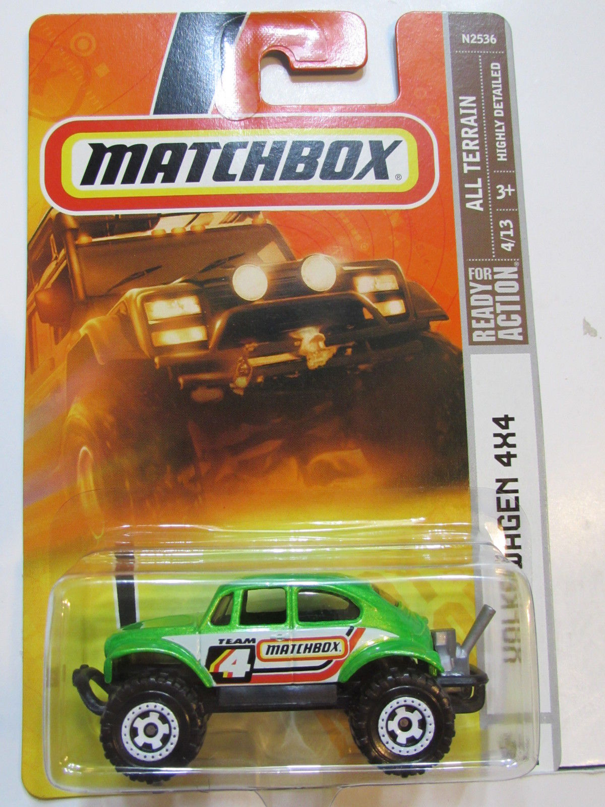 MATCHBOX 2008 READY FOR ACTION - AL TERRAIN - VOLKSWAGEN BEETLE 4X4 #91 GREEN