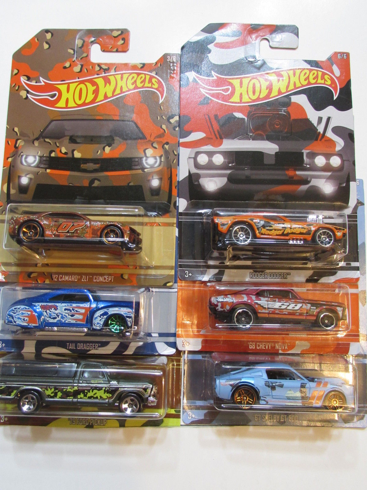 HOT WHEELS CAMOUFLAGE WALMART EXCLUSIVE COMPLETE SET OF 6 SHELBY 79 FORD CAMARO