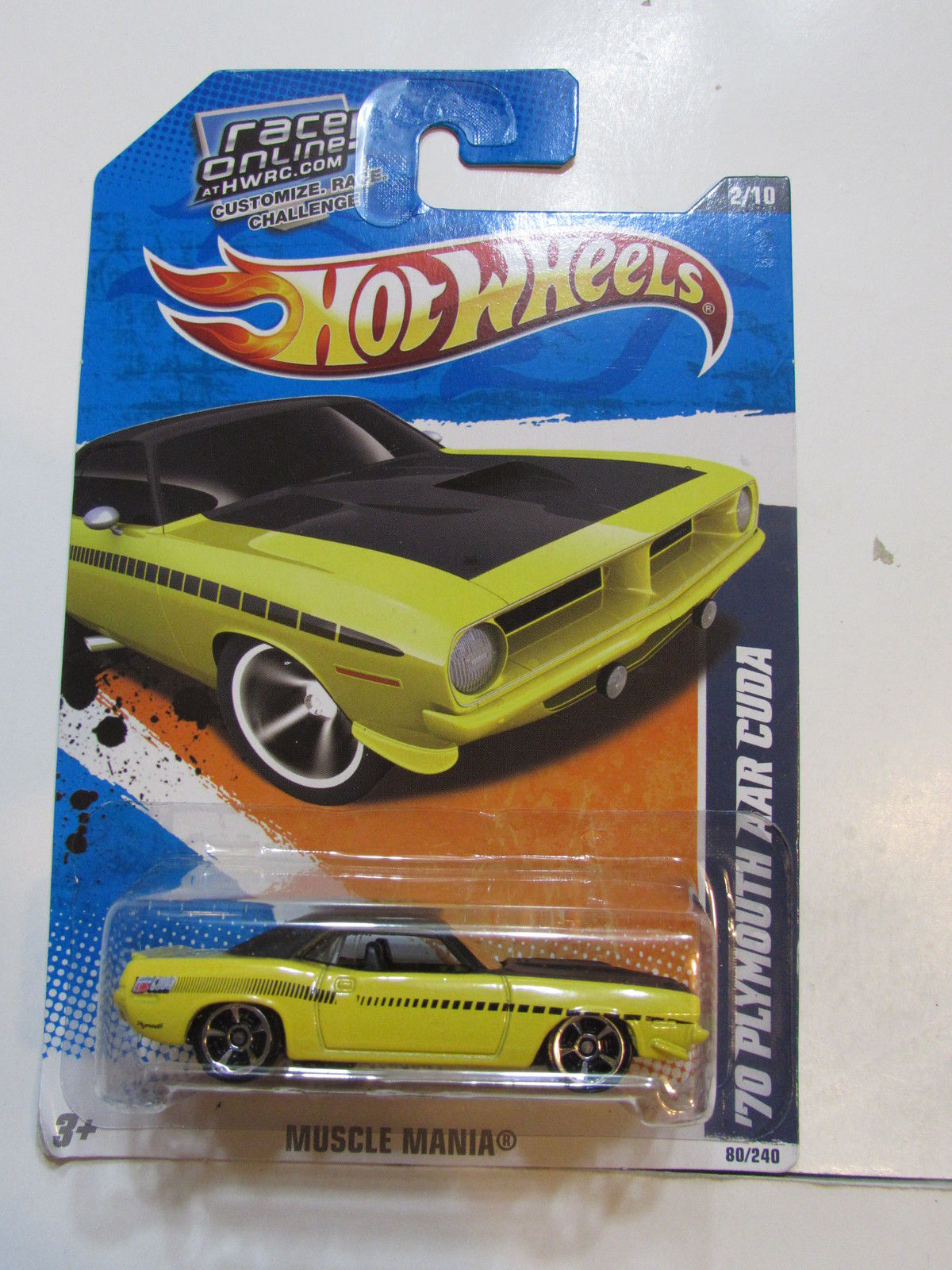 HOT WHEELS 2011 MUSCLE MANIA '70 PLYMOUTH AAR CUDA - MISPRINTED TAMPO VARIATION