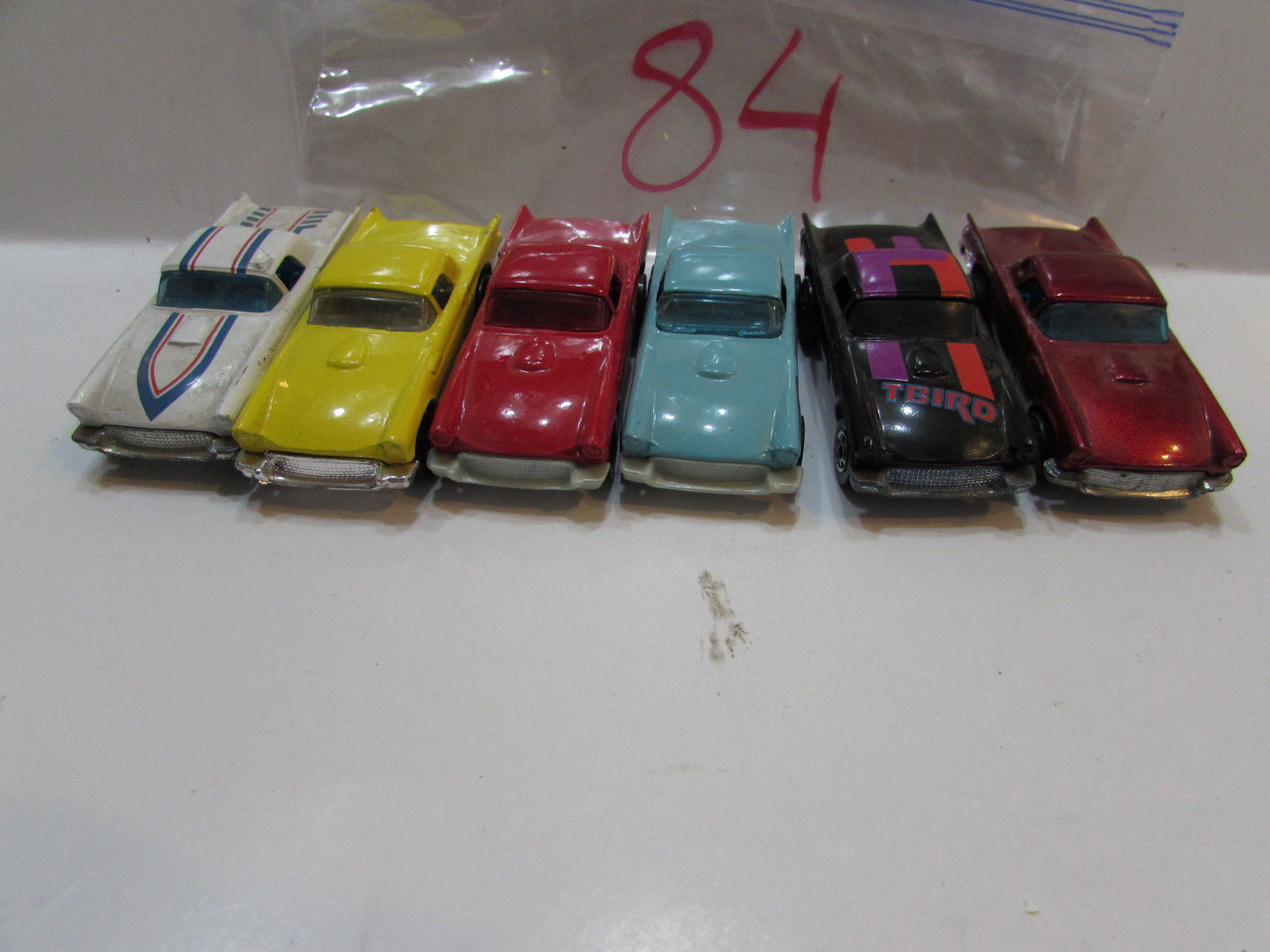 HOT WHEELS LOT OF 6 T - BIRD RED BLACK YELLOW 1977 HONG KONG / MALAYSIA BASE