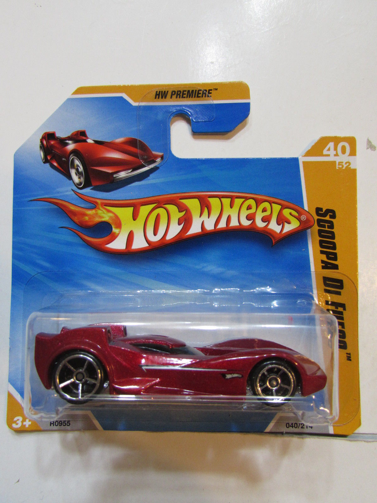 HOT WHEELS 2010 HW PREMIERE SCOOPA DI FUEGO RED SHORT CARD