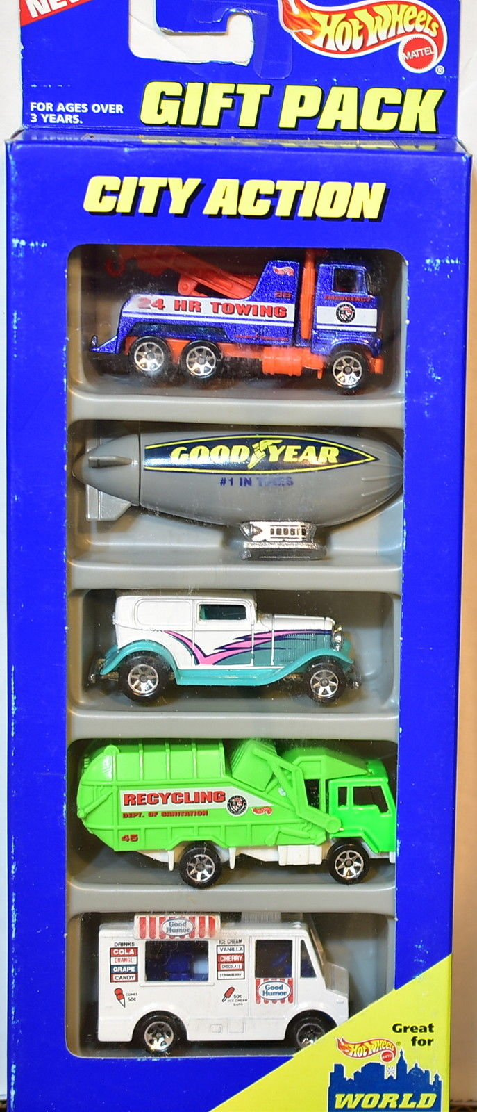 HOT WHEELS 5 CAR PACK CITY ACTION '32 FORD BLIMP RECYCLING TRUCK ICE CREAM TRUCK