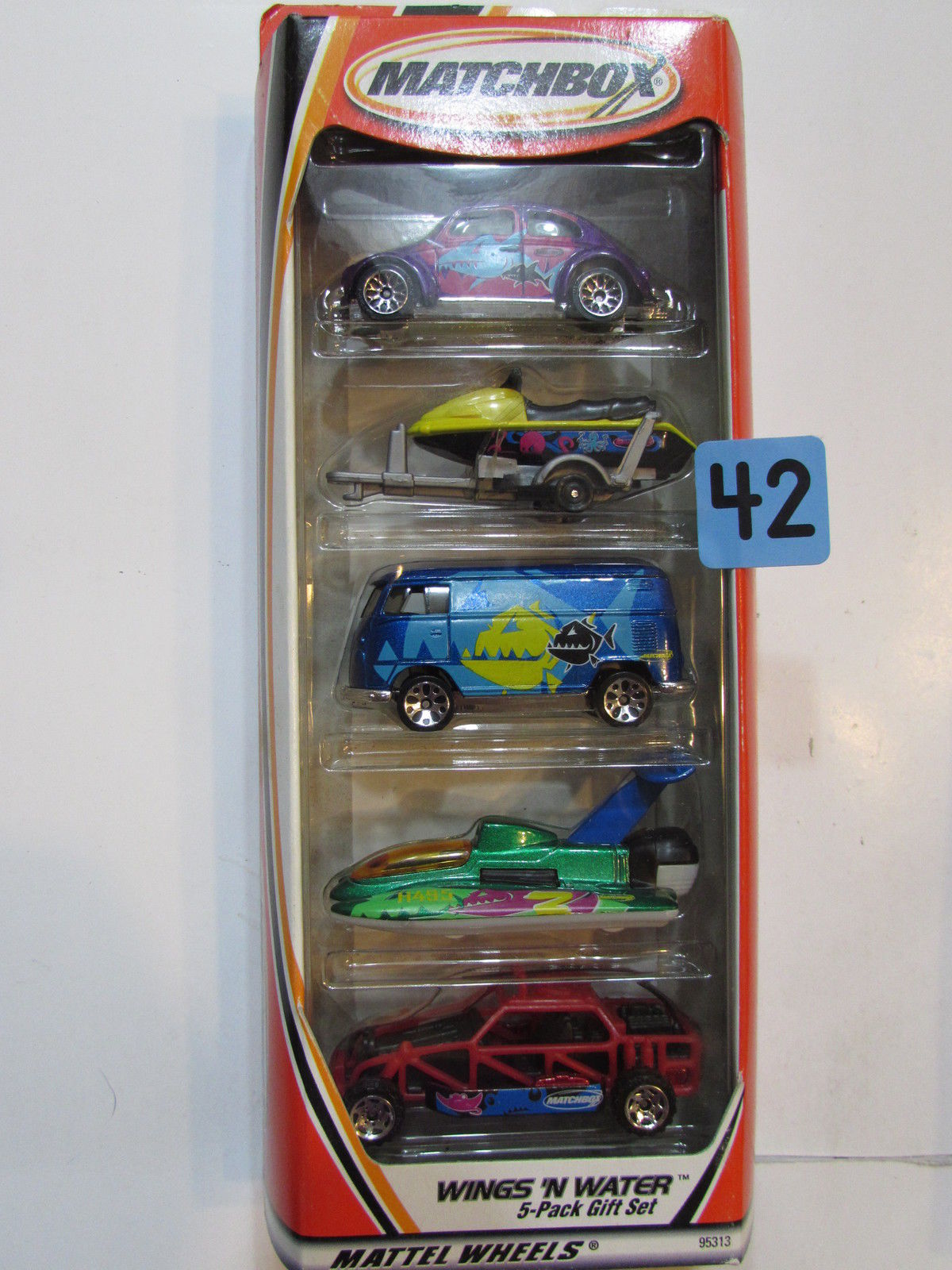 MATCHBOX 5 CAR PACK WINGS 'N WATER '62 VW BEETLE VW DELIVERY VAN HYDROPLANE