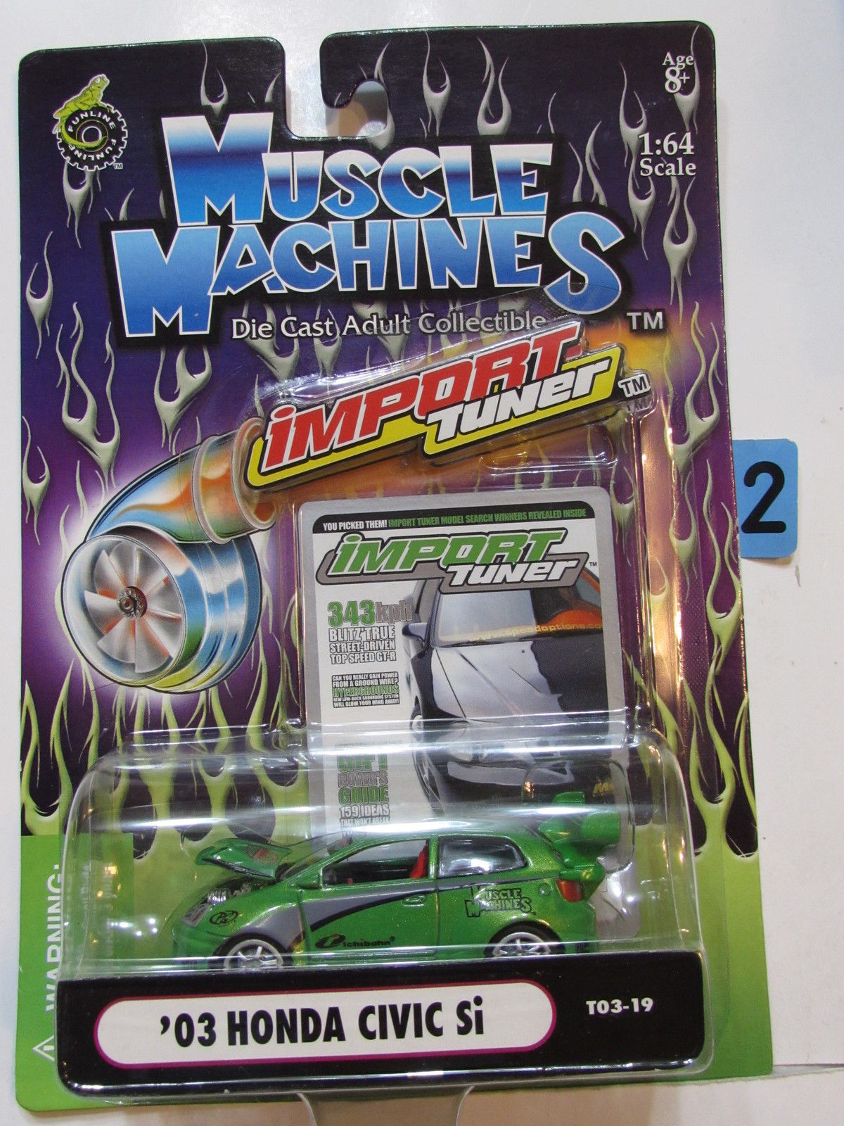 MUSCLE MACHINES IMPORT TUNER '03 HONDA CIVIC Si GREEN 1:64 SCALE