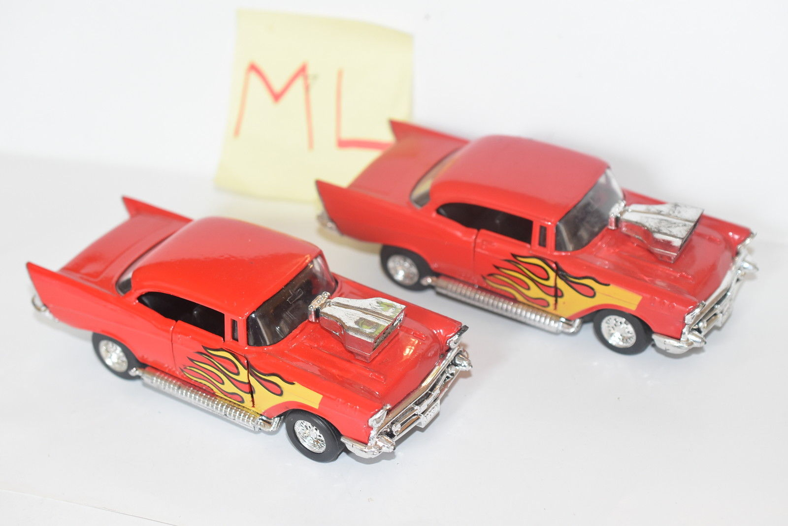 MAJORETTE LOT OF 2 LOOSE HOT RODS '57 CHEVY RED W/ FLAME TAMPO SCALE 1/35