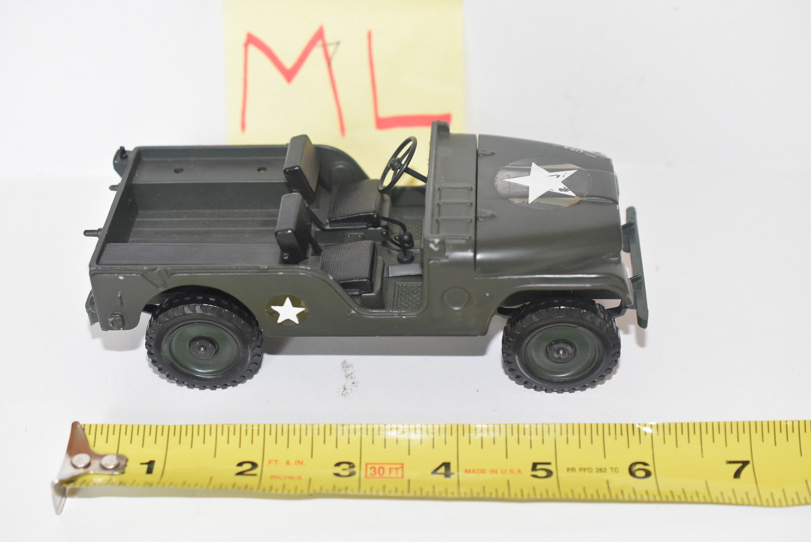 MATTEL MEBE TOYS MILITARY JEEP WILLYS MADE IN ITALY SCALE 1/25 - LOOSE E+