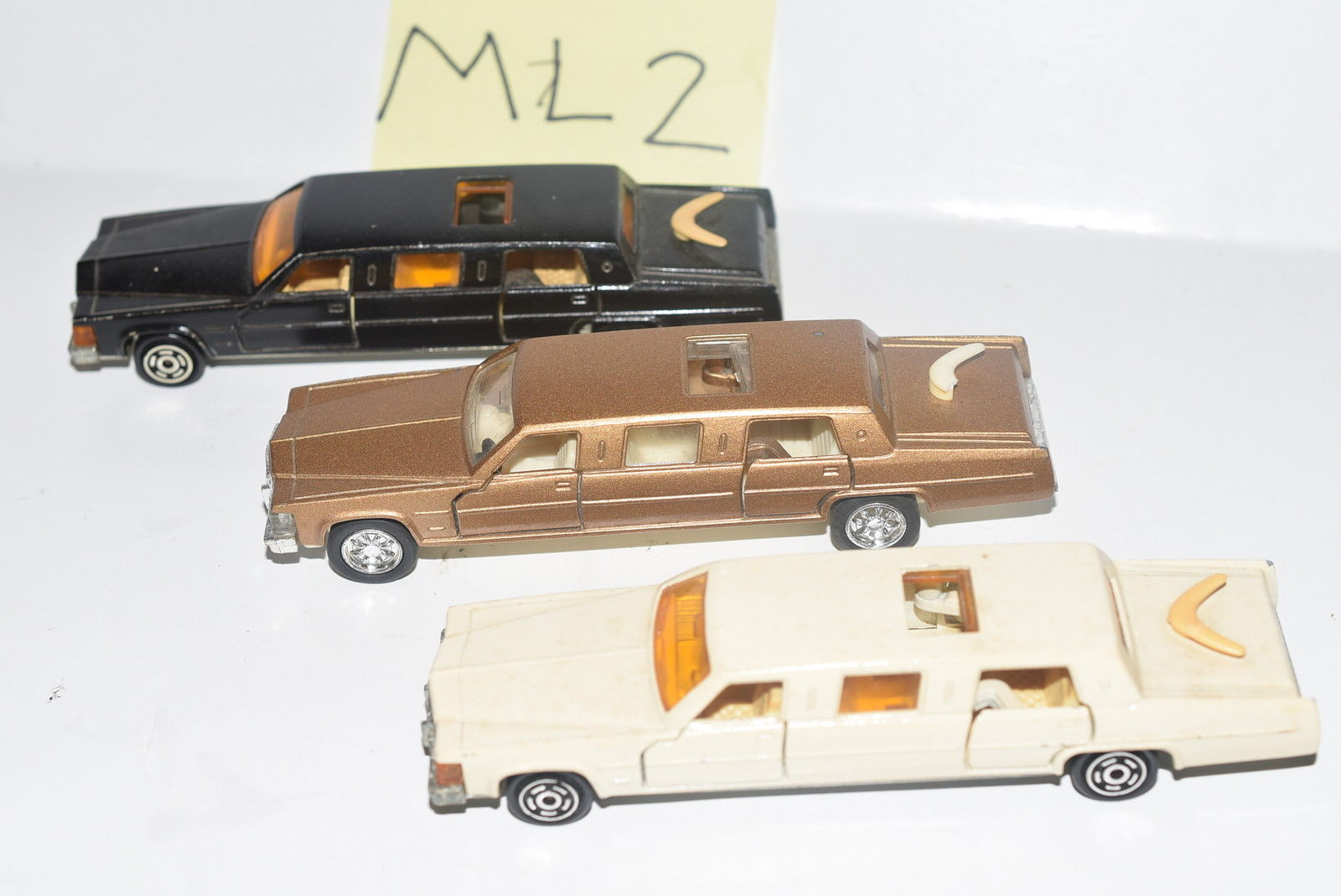 MAJORETTE LOT OF 3 LOOSE LIMOUSINE SCALE 1/58 MADE IN FRANCE - GOLD BLACK WHITE