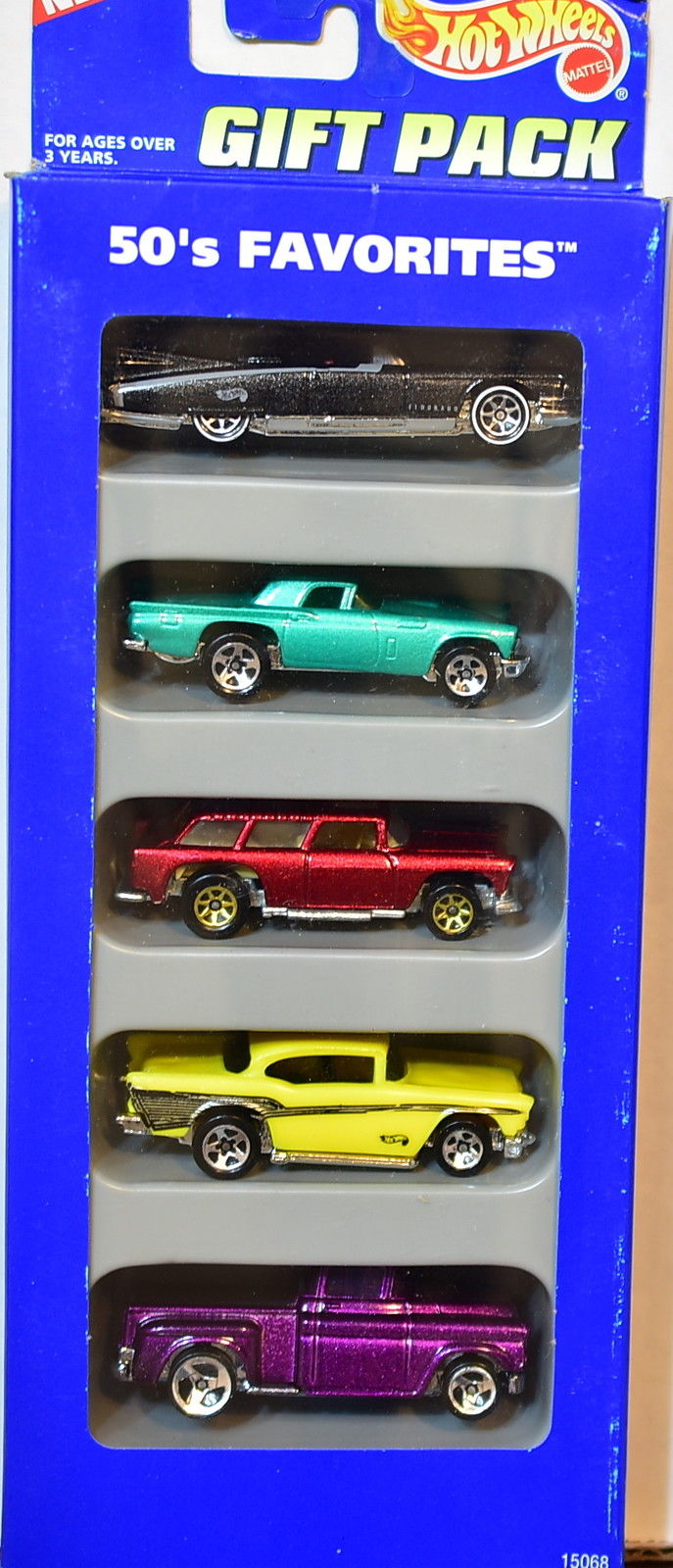HOT WHEELS 1995 5 CAR GIFT PACK 50'S FAVORITES FLASHSIDER CHEVY CADILLAC