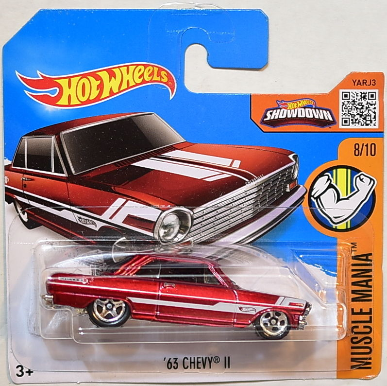 HOT WHEELS 2016 MUSCLE MANIA '63 CHEVY II #8/10 SHORT CARD