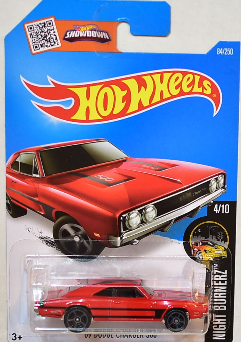HOT WHEELS 2016 NIGHT BURNERZ #4/10 '69 DODGE CHARGER 500 RED