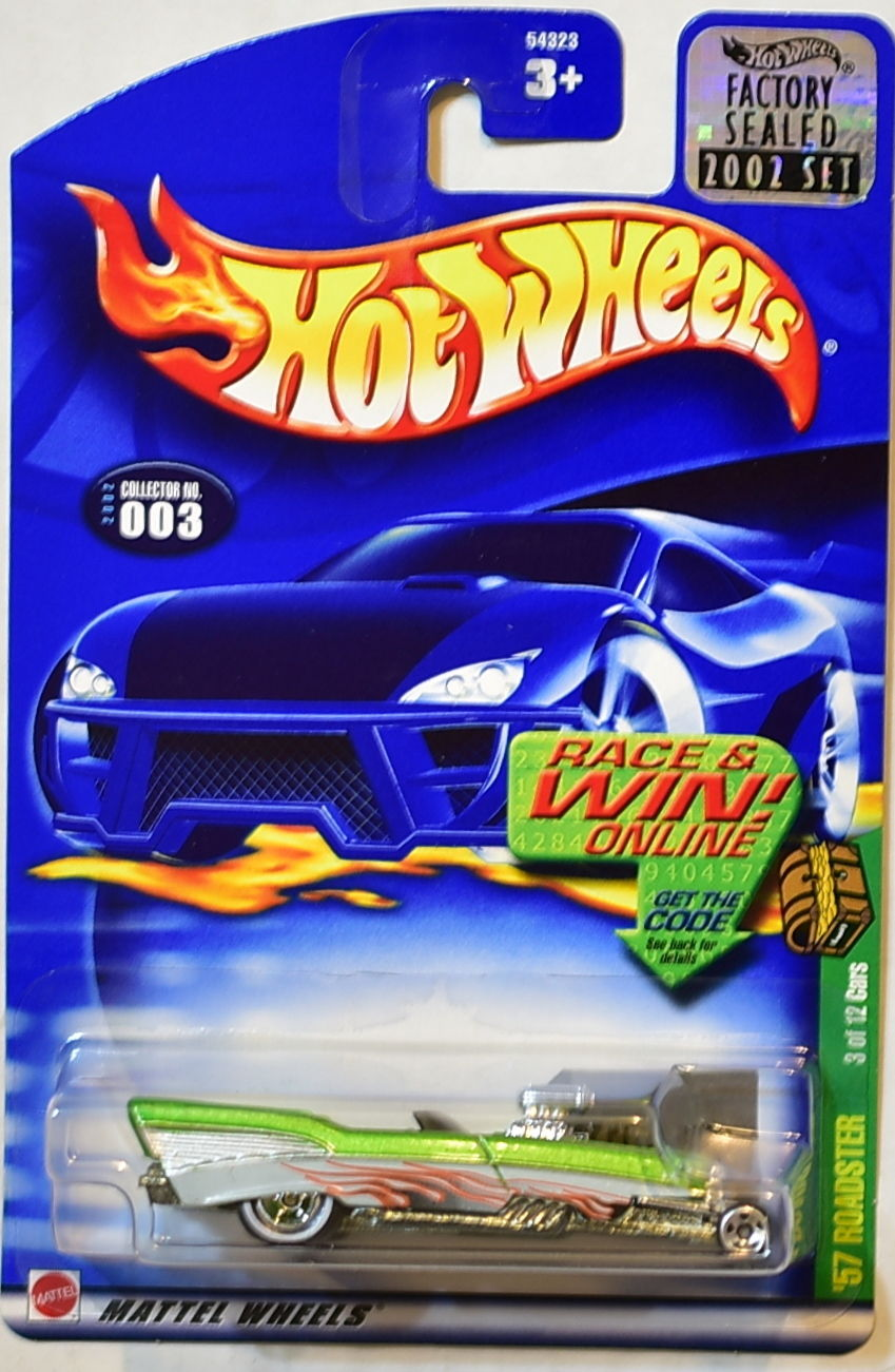 HOT WHEELS 2002 TREASURE HUNT '57 ROADSTER #003 FACTORY SEALED