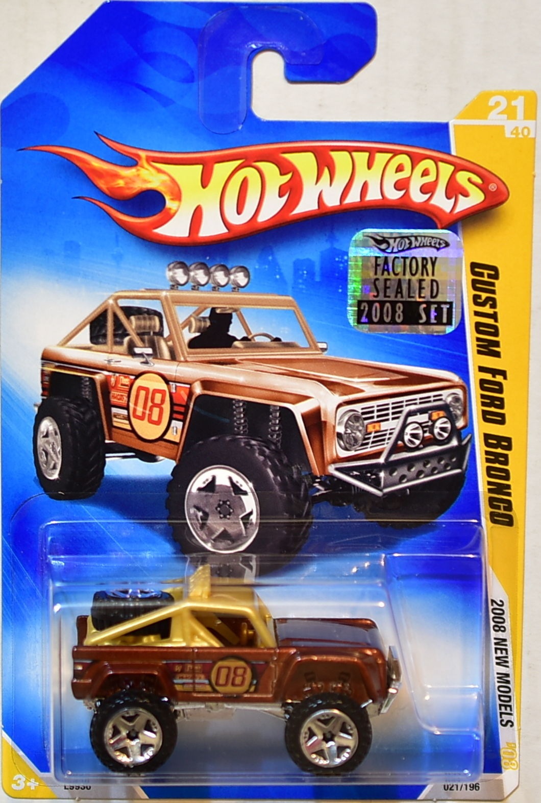 HOT WHEELS 2008 NEW MODELS CUSTOM FORD BRONCO #21/40 FACTORY SEALED