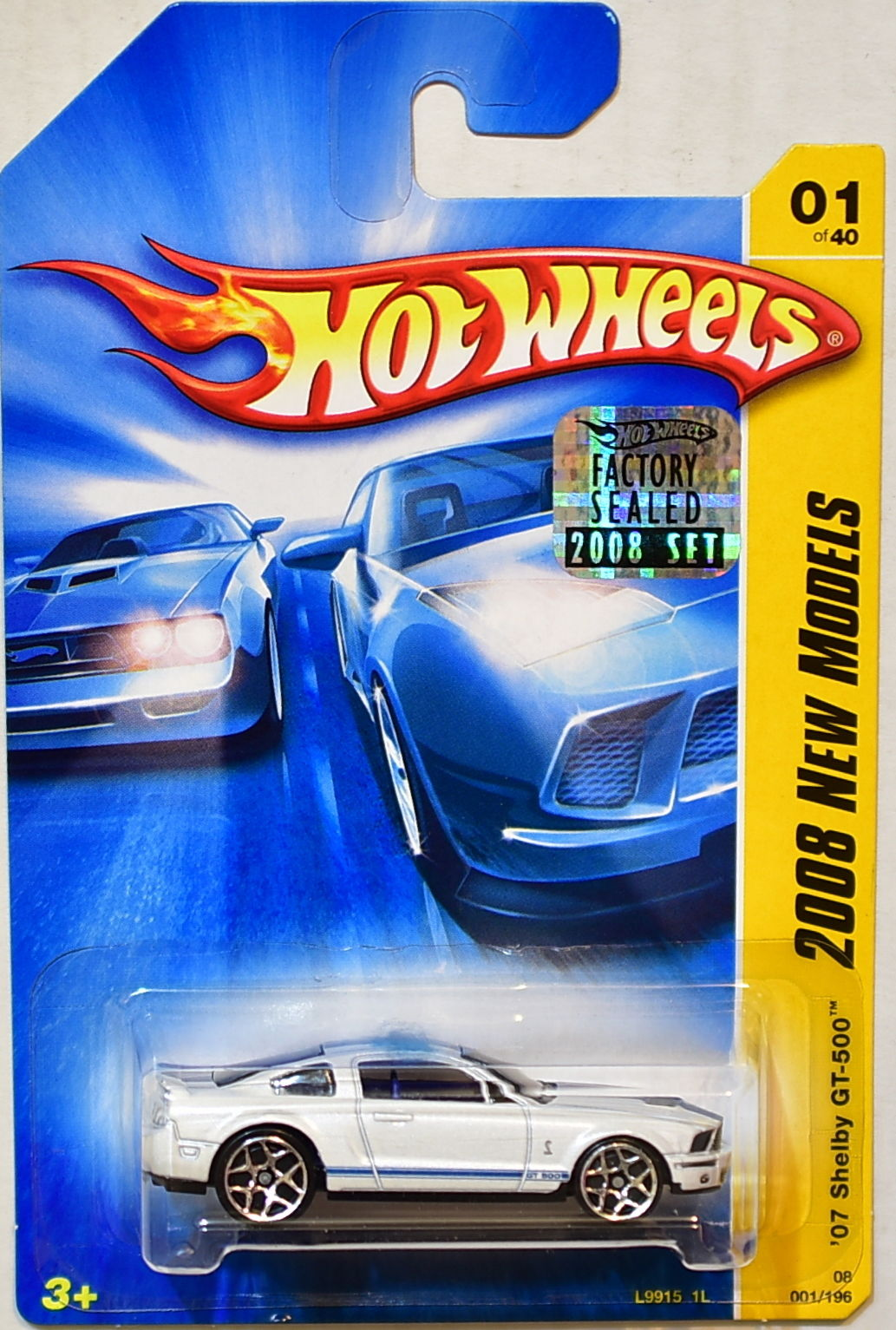 HOT WHEELS 2008 NEW MODELS '07 SHELBY GT-500 #01/40 WHITE FACTORY SEALED