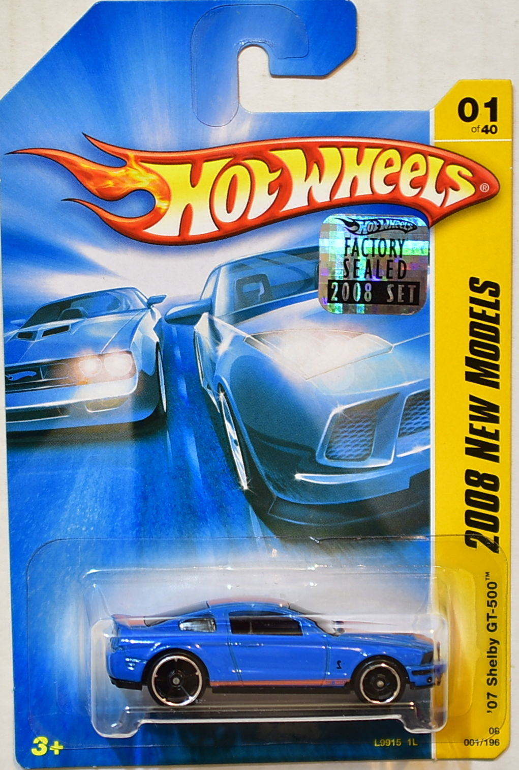 HOT WHEELS 2008 NEW MODELS '07 SHELBY GT-500 #01/40 BLUE FACTORY SEALED