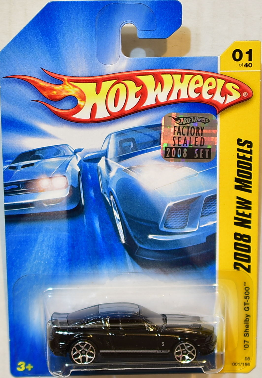 HOT WHEELS 2008 NEW MODELS '07 FORD SHELBY GT-500 #01/40 BLACK FACTORY SEALED