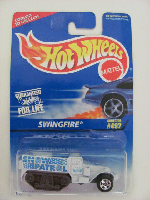 HOT WHEELS 1996 SWINGFIRE #492 WHITE - SNOWBOUND TRACKER