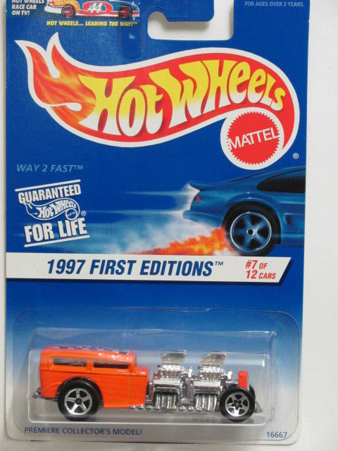 HOT WHEELS 1997 FIRST EDITIONS #514 WAY 2 FAST ORANGE METAL BASE