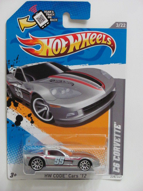 HOT WHEELS 2012 HW CODE CARS C6 CORVTTE #3/22 SILVER