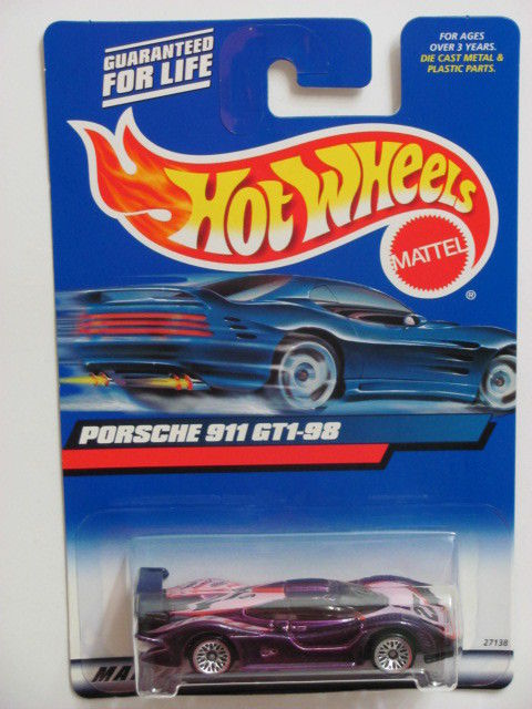 HOT WHEELS 2000 PORSCHE 911 GT1-98 PURPLE WRONG TAMPO COLOR ERROR