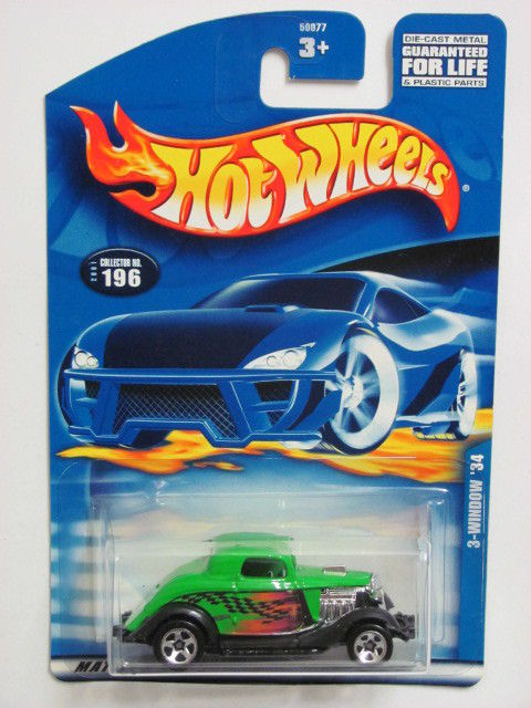 HOT WHEELS 2001 3- WINDOW '34 COLLECT. #196 GREEN