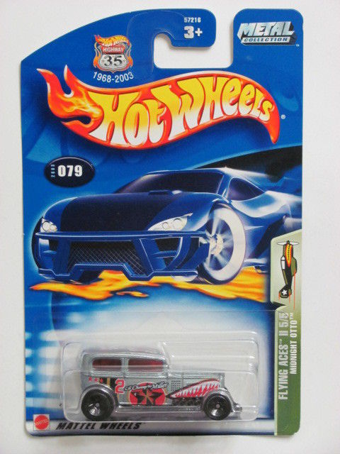 HOT WHEELS 2003 FLYING ACES II 5/5 MIDNIGHT OTTO #079 SILVER