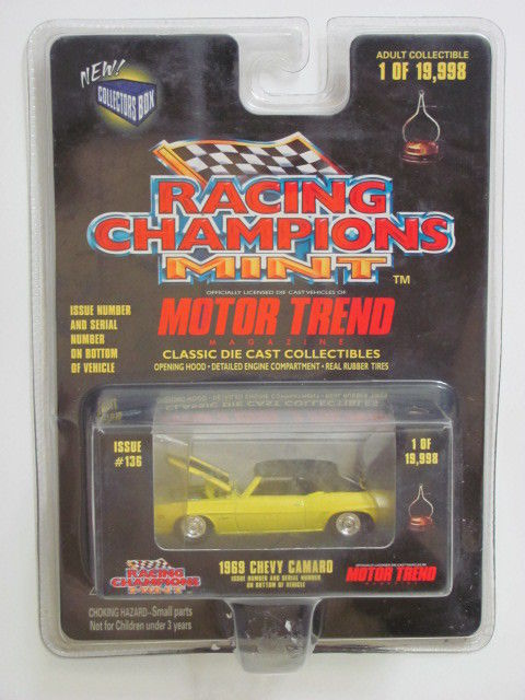 RACING CHAMPIONS ISSUE #136 1969 CHEVY CAMARO 1:57 SCALE YELLOW