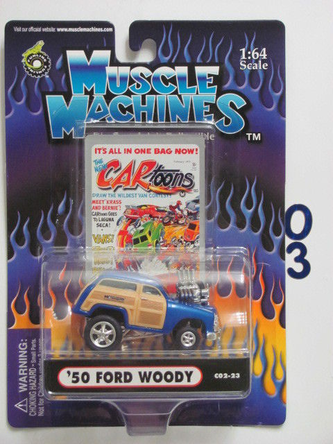 MUSCLE MACHINES C02-23 '50 FORD WOODY BLUE SCALE 1:64