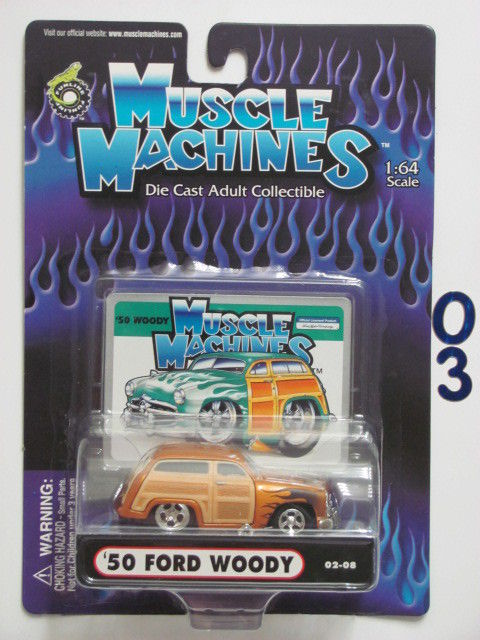 MUSCLE MACHINES 02-08 '50 FORD WOODY GOLD SCALE 1:64