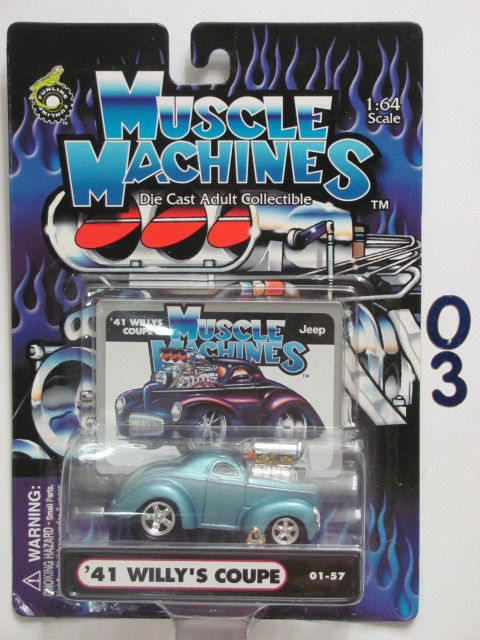 MUSCLE MACHINES '41 WILLY'S COUPE 01-57 BLUE 1:64 SCALE