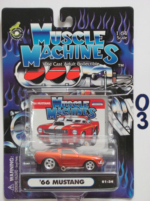 MUSCLE MACHINES '66 MUSTANG 01-34 ORANGE 1:64 SCALE E+