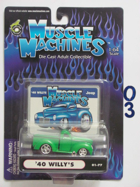 MUSCLE MACHINES '40 WILLY'S 01-77 GREEN 1:64 SCALE