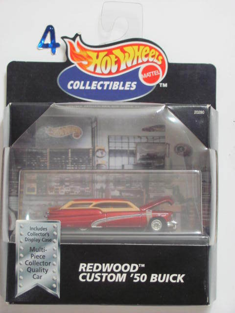 HOT WHEELS 1998 COLLECTIBLE REDWOOD CUSTOM '50 BUICK W/ DISPLAY CASE RED