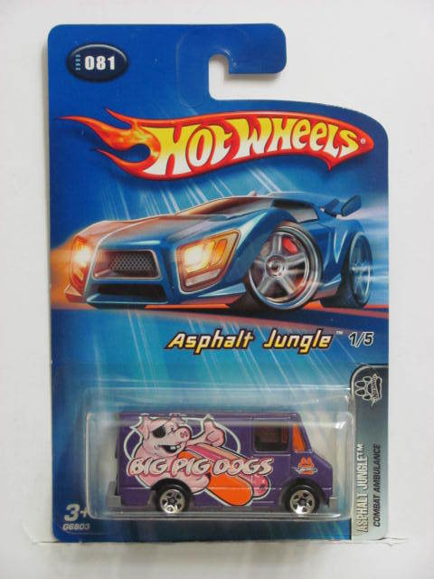 HOT WHEELS 2005 ASPHALT JUNGLE COMBAT AMBULANCE #081 PURPLE