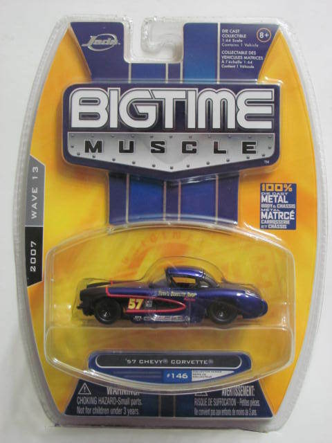 JADA TOYS 2007 BIGTIME MUSCLE #146 '57 CHEVY CORVETTE 1:64 SCALE