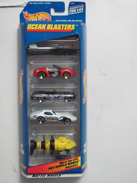 HOT WHEELS OCEAN BLASTERS HYDROPLANE PLYMOUTH CORVETTE FATHOM 5 CAR PACK