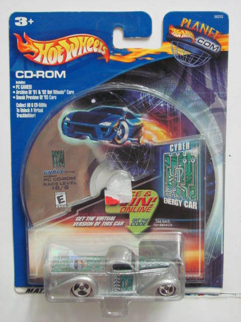 HOT WHEELS CD-ROM PLANET.COM SUPER SMOOTH CYBER ENERGY CAR SILVER