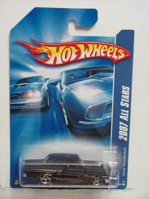 HOT WHEELS 2007 ALL STARS FORD THUNDERBOLT BLACK PR5 WHEELS