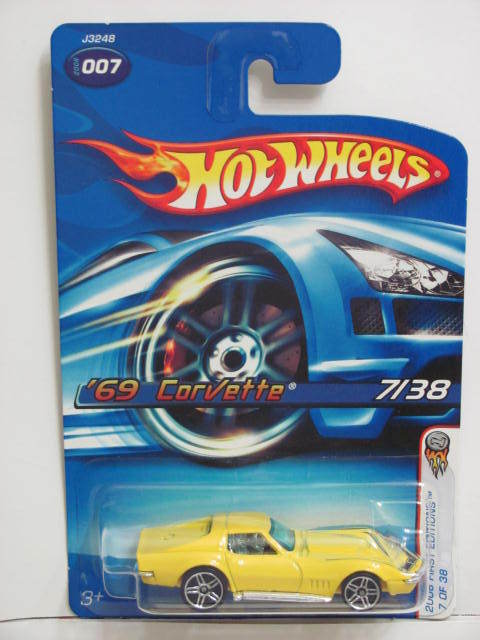 HOT WHEELS 2006 FIRST EDITIONS '69 CORVETTE YELLOW #007