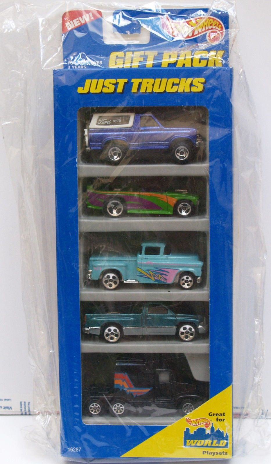 HOT WHEELS 1996 GIFT PACK JUST TRUCKS BRONCO CHEVY DODGE KENWORTH 5 CAR PACK