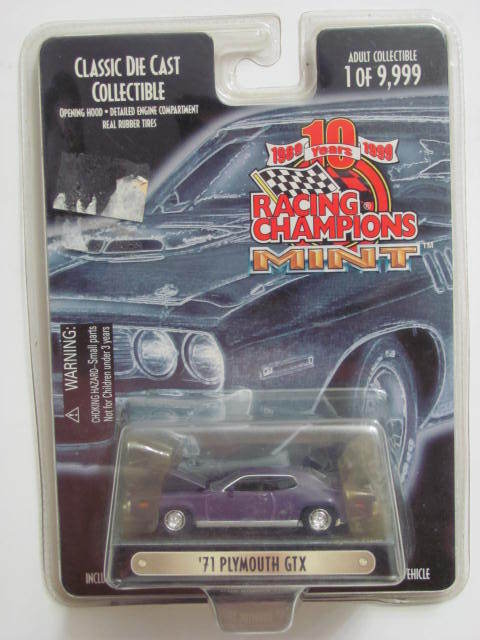 1999 RACING CHAMPIONS MINT '71 PLYMOUTH GTX PURPLE ISSUE #234