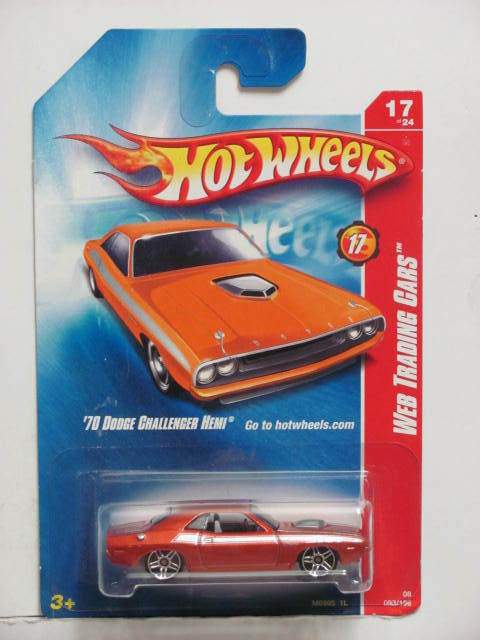 HOT WHEELS 2008 WEB TRADING CARS '70 DODGE CHALLENGER HEMI ORANGE