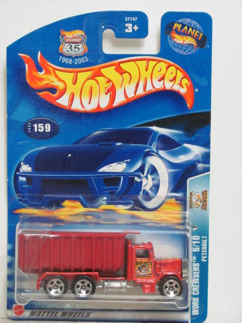 HOT WHEELS 2003 WORK CREWSERS PETERBILT #159 RED