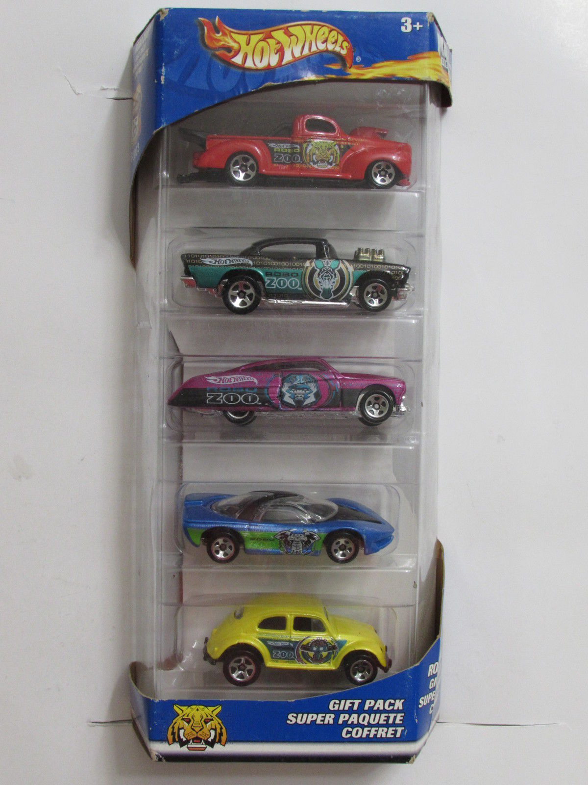 HOT WHEELS 5 CAR PACK GIFT PACK SUPER PAQUETE ROBO ZOO BEETLE CHEVY FORD