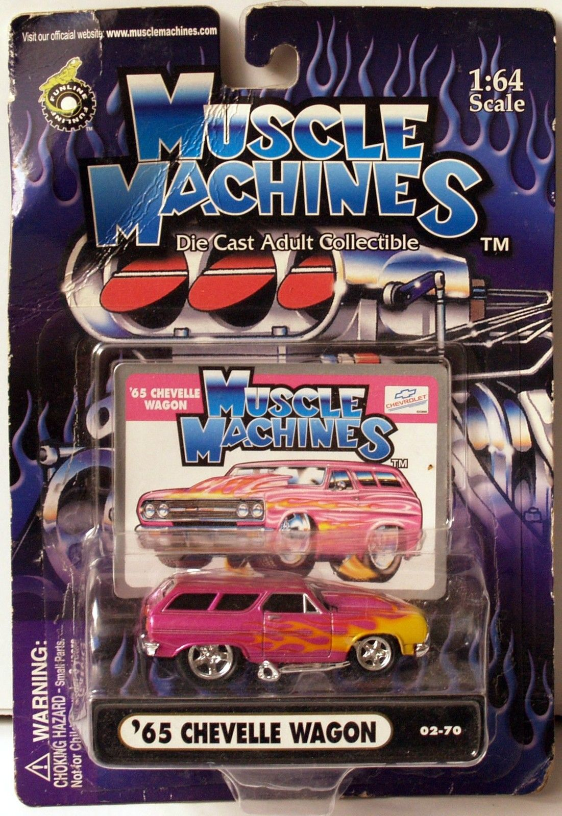 MUSCLE MACHINES 2003 - GROCERY GETTERS - PINK WITH FLAMES '65 CHEVELLE WAGON