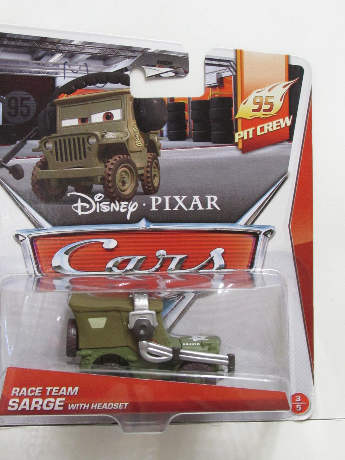 DISNEY PIXAR CARS PIT CREW RACE TEAM SARGE WITH HEADSET