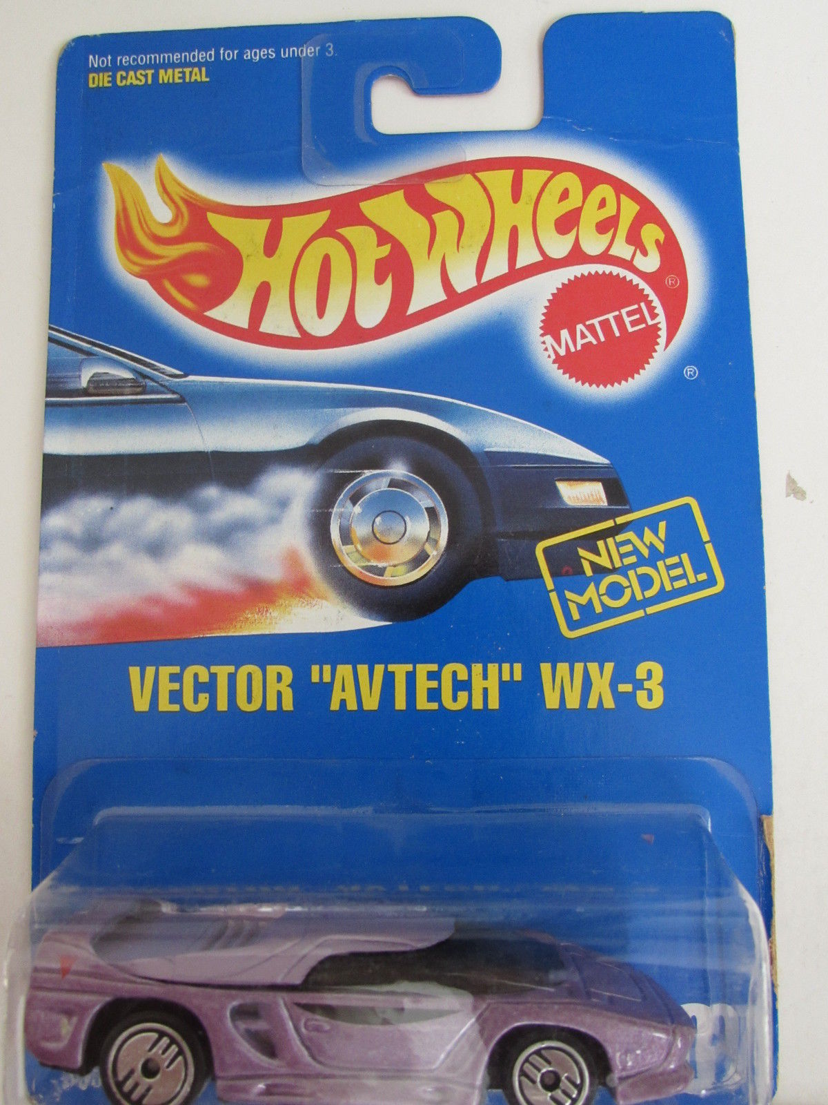 "HOT WHEELS 1991 BLUE CARD VECTOR ""AVTECH"" WX-3 COLLECT. #207 MIB"