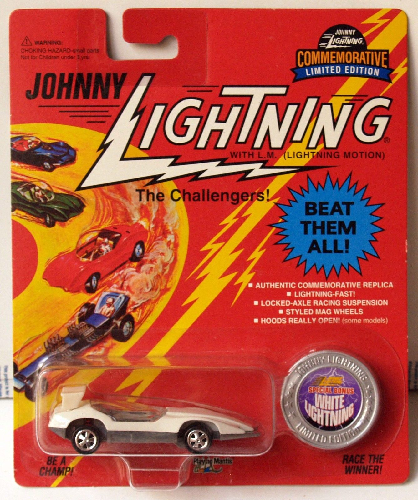 JOHNNY LIGHTNING COMMEMORATIVE - WHITE CUSTOM SPOILER - SPECIAL BONUS